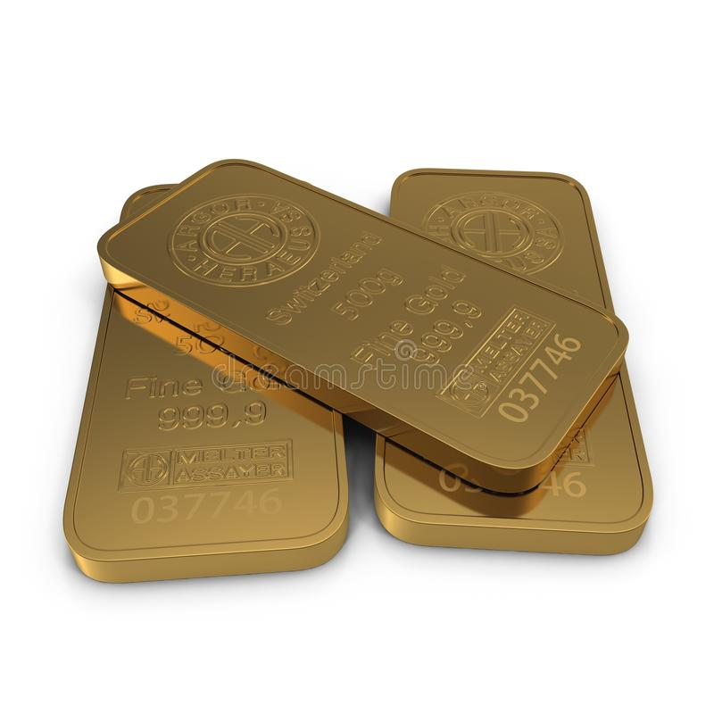 Goldbarren 500g lokalisiert auf Weiß Abbildung 3D stock abbildung