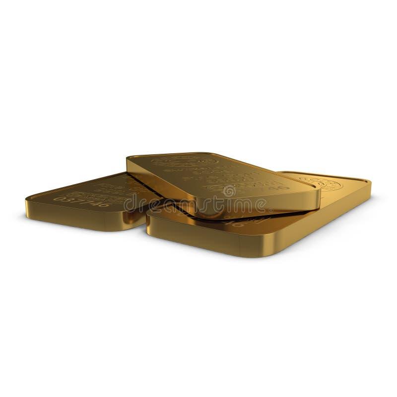 Goldbarren 500g lokalisiert auf Weiß Abbildung 3D lizenzfreie abbildung