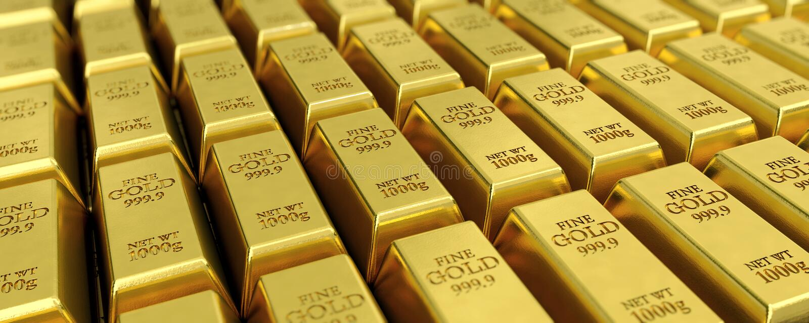 Many gold bars. 3D illustration for example as background image royalty free illustration