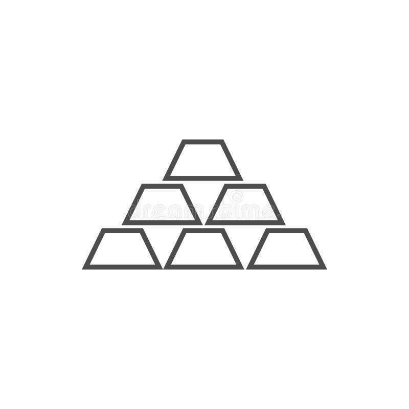 Goldbarren Ikone Element der Internetsicherheit für bewegliches Konzept und Netz Appsikone Dünne Linie Ikone für Websitedesign un vektor abbildung