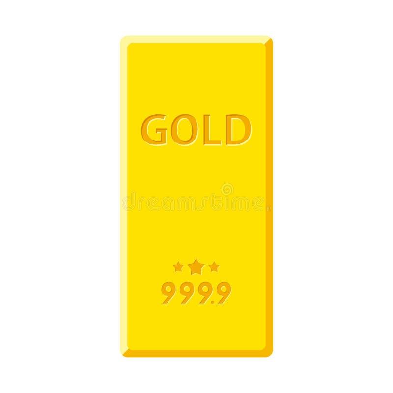 Goldbarren lokalisiert auf weißem Hintergrund Goldene Goldbarrenansicht von oben lizenzfreie abbildung