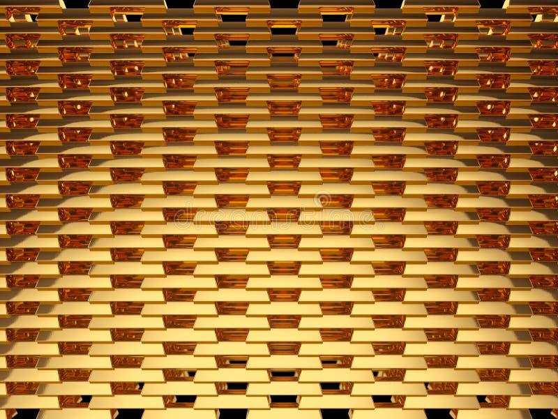 Goldbarren oder inglots Wand lokalisiert auf Schwarzem vektor abbildung