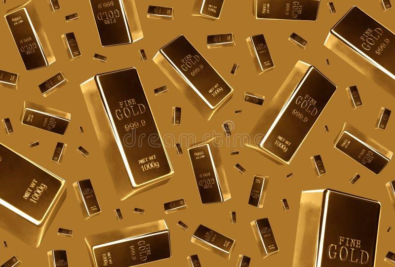 Goldbarren Regen auf braunem Hintergrund lizenzfreie stockfotografie
