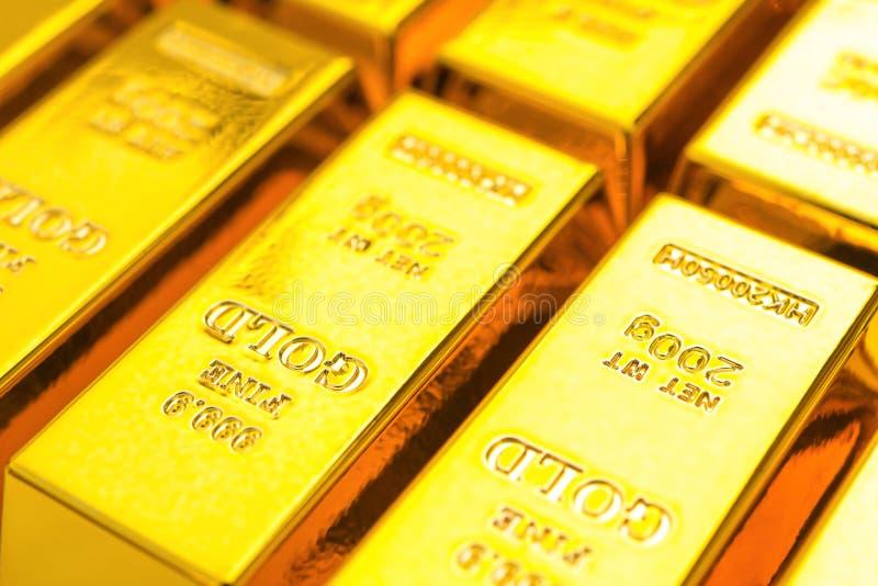 Goldbarren schließen oben stockfoto
