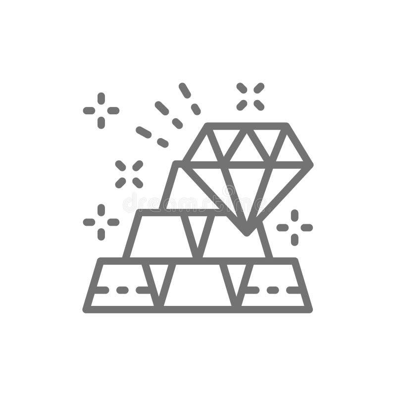 Goldbarren und Diamant, Reichtumslinie Ikone lizenzfreie abbildung