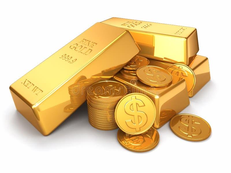 Goldbarren und -münzen auf Weiß lokalisiertem Hintergrund stock abbildung