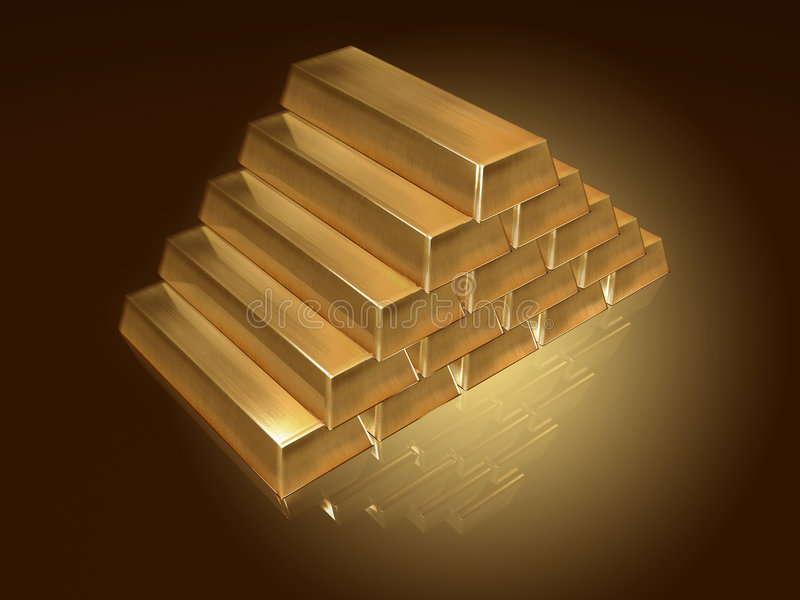 Goldbarrenpyramide stock abbildung