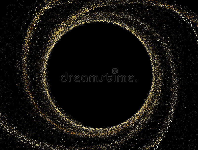 Goldbeschaffenheit auf einem schwarzen Hintergrund Kreisspiralarm des goldenen stardust vektor abbildung