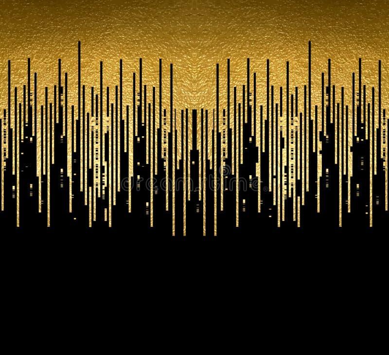 Goldbeschaffenheit zeichnet Dekoration auf dem schwarzen Hintergrund Horizontales nahtloses Muster stock abbildung