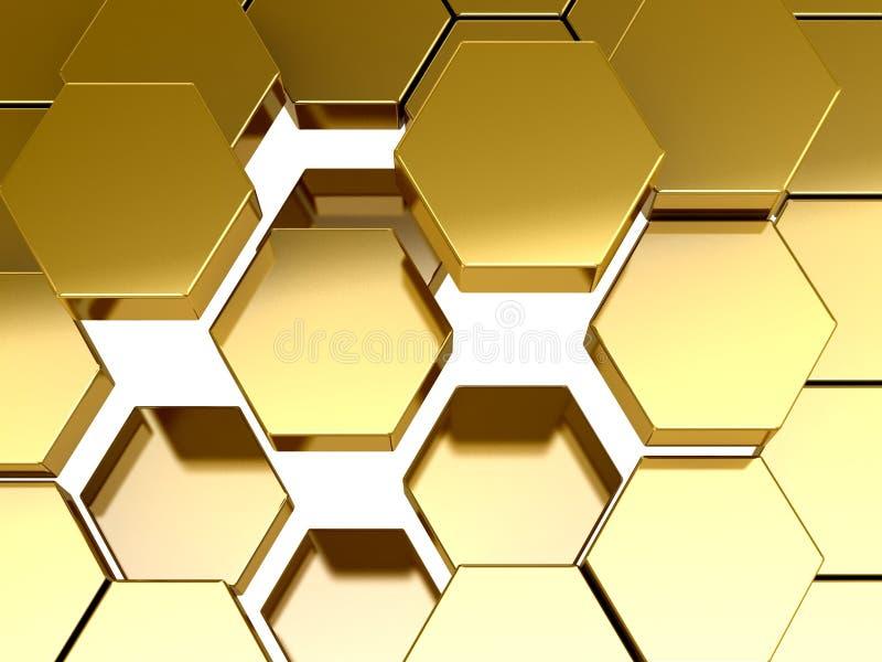 Goldbienenwaben-Musterhintergrund lizenzfreie abbildung