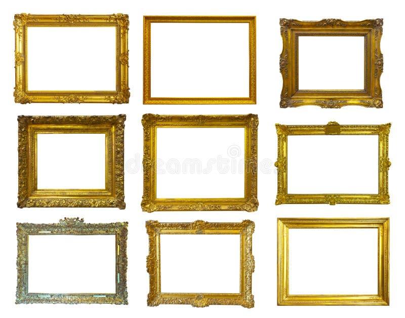 Goldbilderrahmen. Lokalisiert über Weiß lizenzfreies stockbild