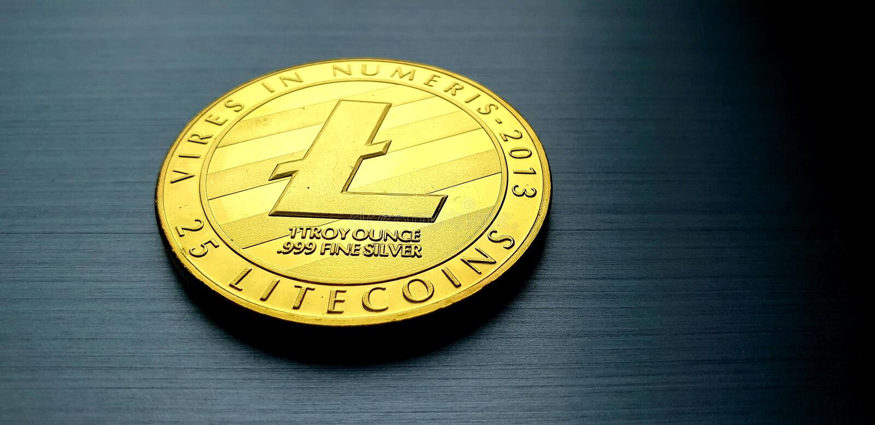 Goldbitcoin-Litecoin-Münze lizenzfreie stockfotografie