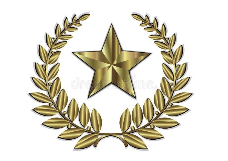Goldblatt-Kamm und goldener Stern lizenzfreie abbildung
