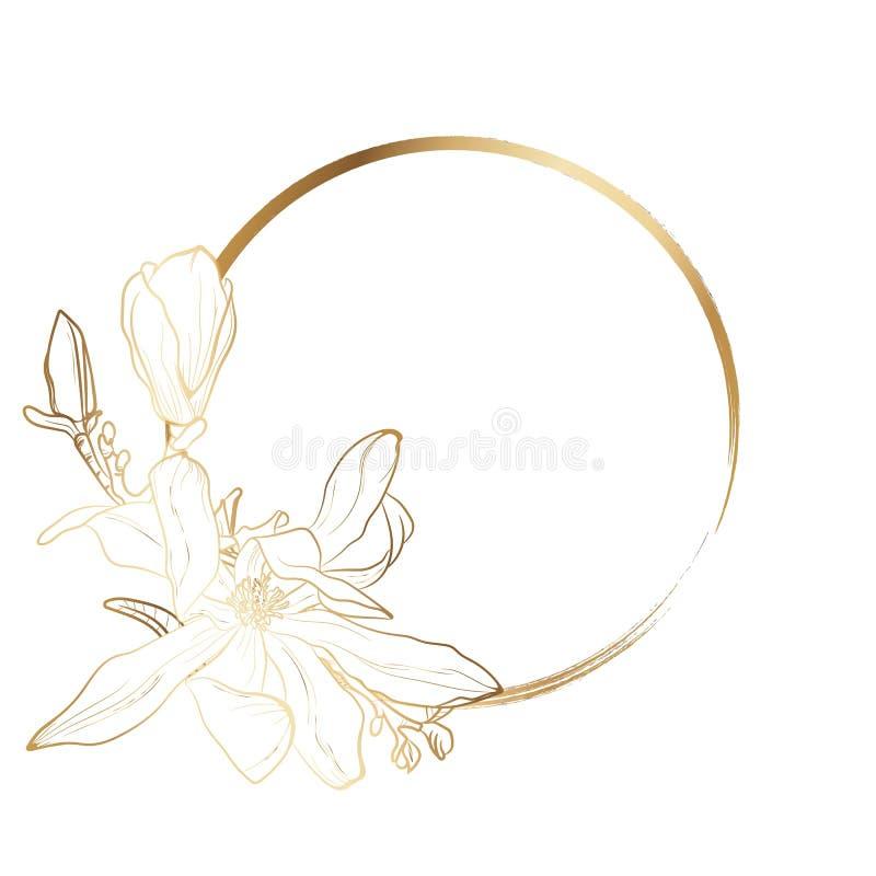 Goldblumeneinladung Goldener Blumenrahmen für Heiratseinladung, Grußkarten, alles Gute zum Geburtstag lizenzfreie abbildung