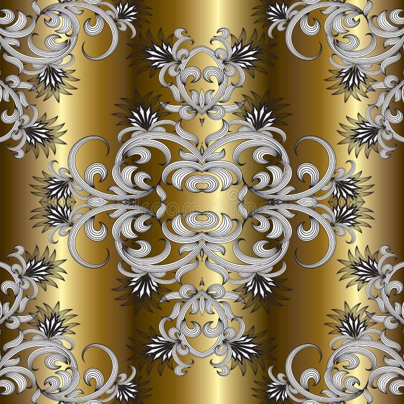 Download Goldblumenhand Gezeichnetes Nahtloses Muster Vektor Abbildung - Illustration von gezeichnet, hintergrund: 106804396