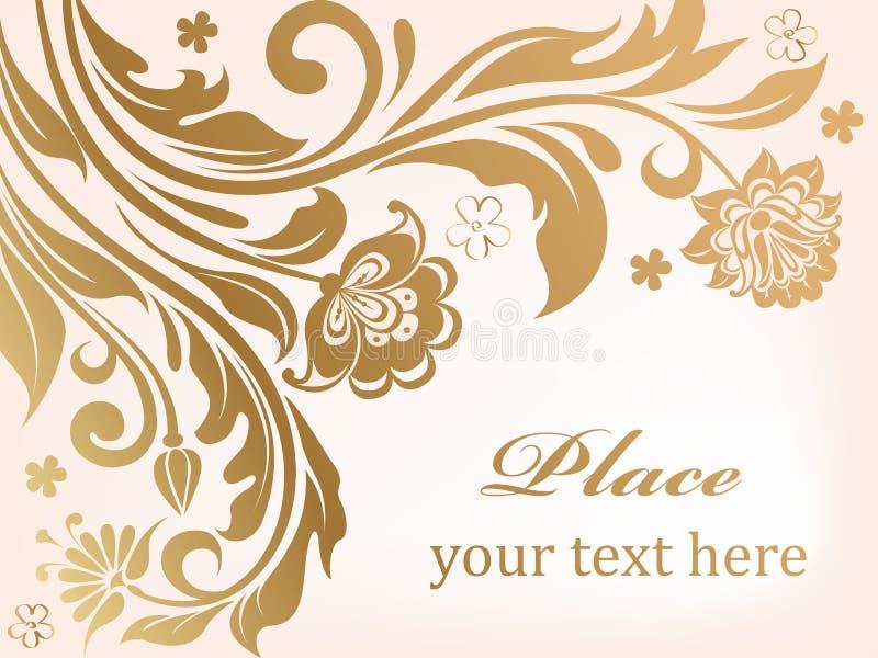 Goldblumenhintergrund mit dekorativen Blumen stock abbildung