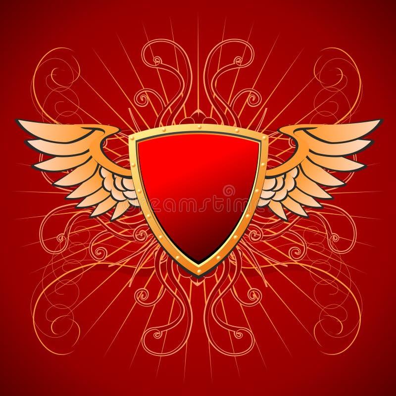 Goldbrett auf einem roten Hintergrund stock abbildung
