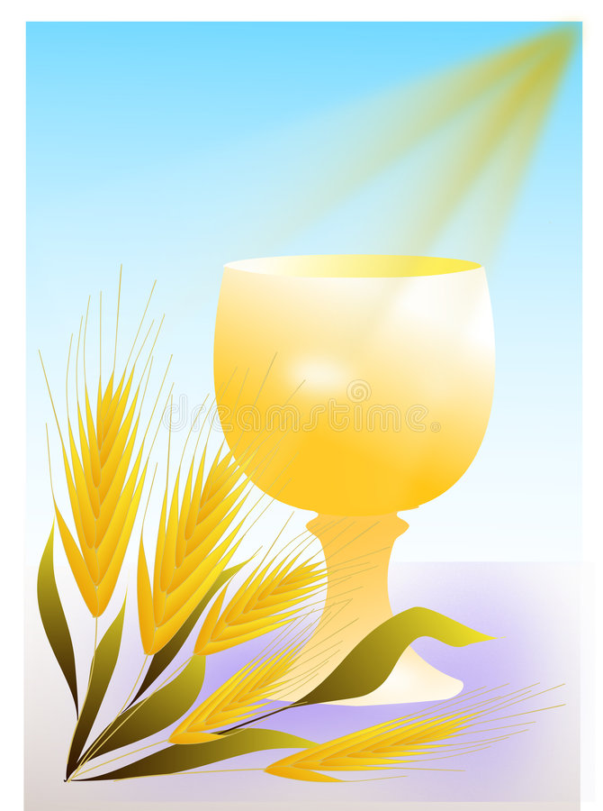 Goldchalicekommunion stock abbildung