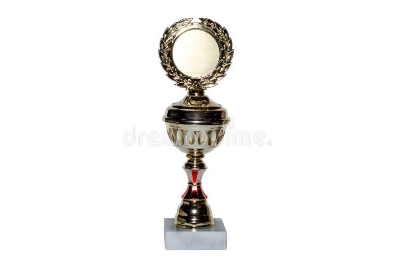 Goldcup auf weißem Hintergrund stockfotos