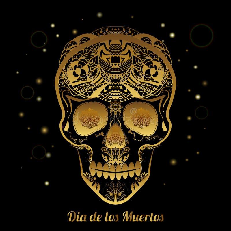 Golddekorativer Zuckerschädel Dia de Los Muertas (Tag der Toten vektor abbildung