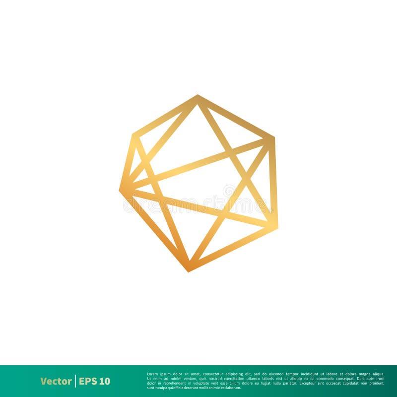 Golddiamant, Edelstein-Vektor-Ikone Logo Template Illustration Design Vektor ENV 10 lizenzfreie abbildung