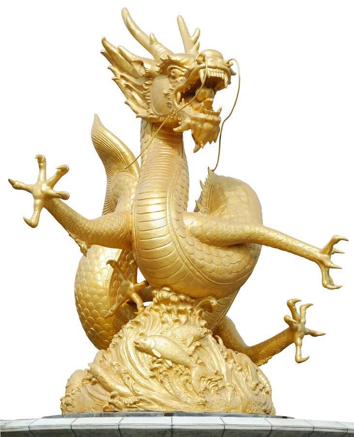 Golddrache-Skulptur lizenzfreies stockfoto