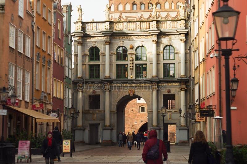 Goldeb Gate in Gdansk stock photography
