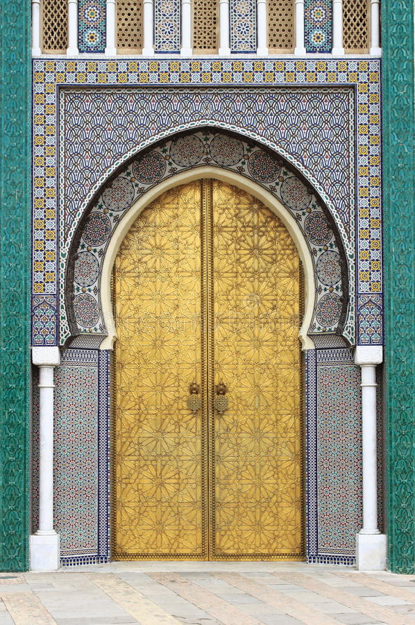 Golded door of Royal Palace in Fes stock photos