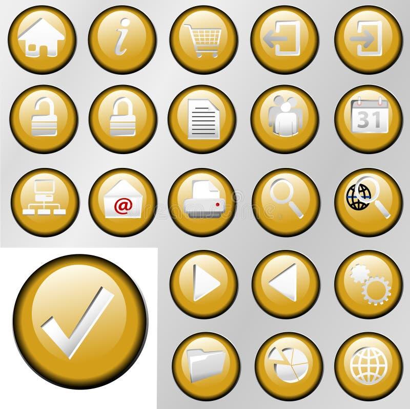 Goldeinfügung-Steuertasten-Ikonen stock abbildung