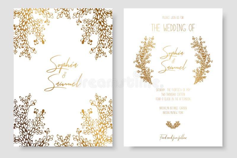 Goldeinladung mit Blumenniederlassungen Gold kardiert die Schablonen für Abwehr das Datum und heiratet einlädt, Grußkarten, Postk vektor abbildung
