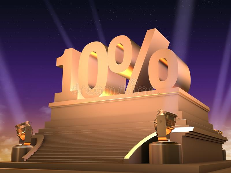 Download Golden 10% stock illustration. Illustration of render - 15437140