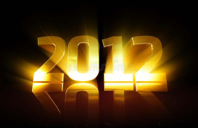Golden 2012. Text with lighting effect stock illustration
