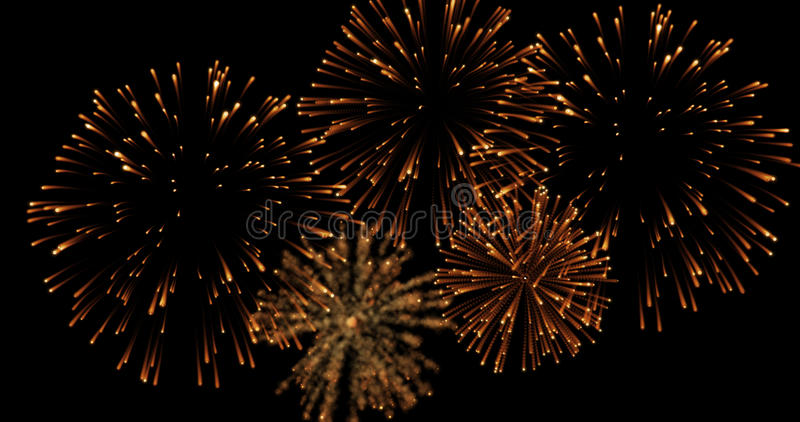 Golden abstract blinking sparkle celebration fireworks lights on black background, festive happy new year royalty free stock photography