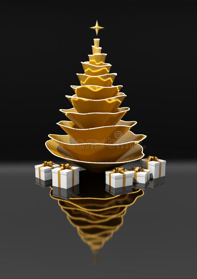 Golden and abstract christmas tree in the night royalty free illustration