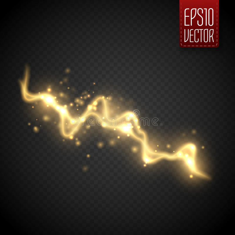 Golden abstract energy shock effect. Electric discharge isolated on transparent. Golden abstract energy shock effect with many glowing particles. Electric stock illustration