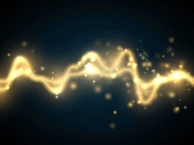 Golden abstract energy shock effect . Electric discharge isolated. Vector illustration. Golden abstract energy shock effect with many glowing particles. Electric vector illustration