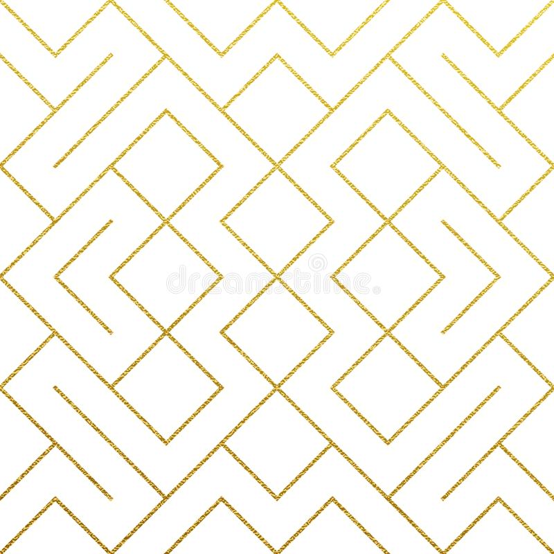 Golden abstract geometric pattern background with gold glitter texture. Vector seamless pattern or rhombus and metal line nodes me. Sh for luxury golden ornate royalty free illustration