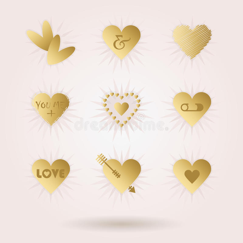 Golden abstract hearts icons set with dropped shadow on pink vector illustration