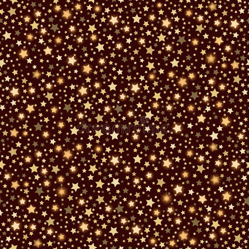 Golden abstract shining falling stars seamless texture brown background vector illustration