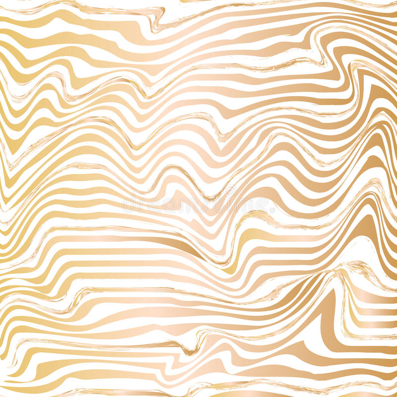 Golden abstract wave line ink texture. Hand drawn marbling illustration technique royalty free illustration