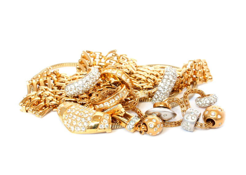Golden accessories isolated royalty free stock photos