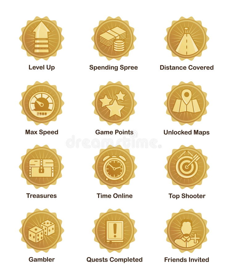 Download Golden Achievement Badges For Shooter, Runner, Arcade Game Stock Vector - Illustration of main, coin: 69141793