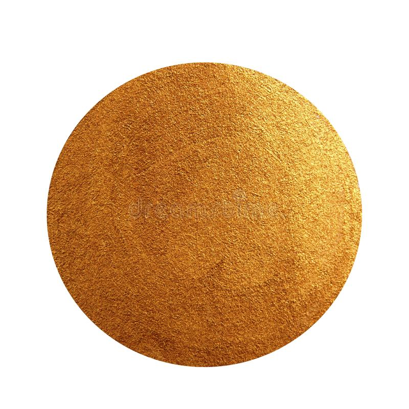 Golden acrylic painted circle. Shining textured gold stain isolated on white background stock images