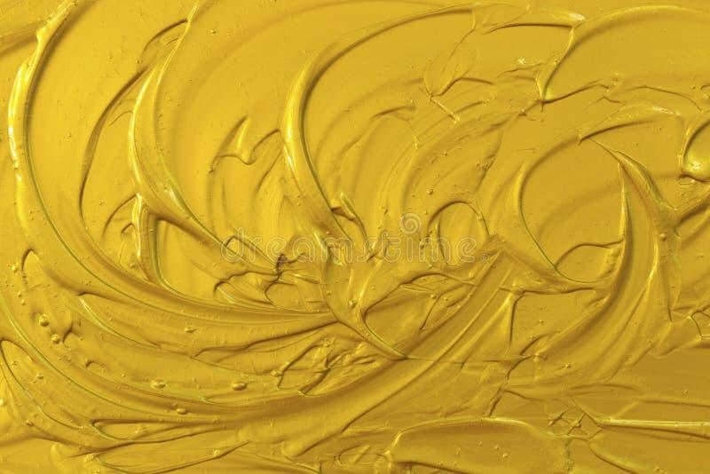 Golden acrylic texture, wave, royalty free stock photo