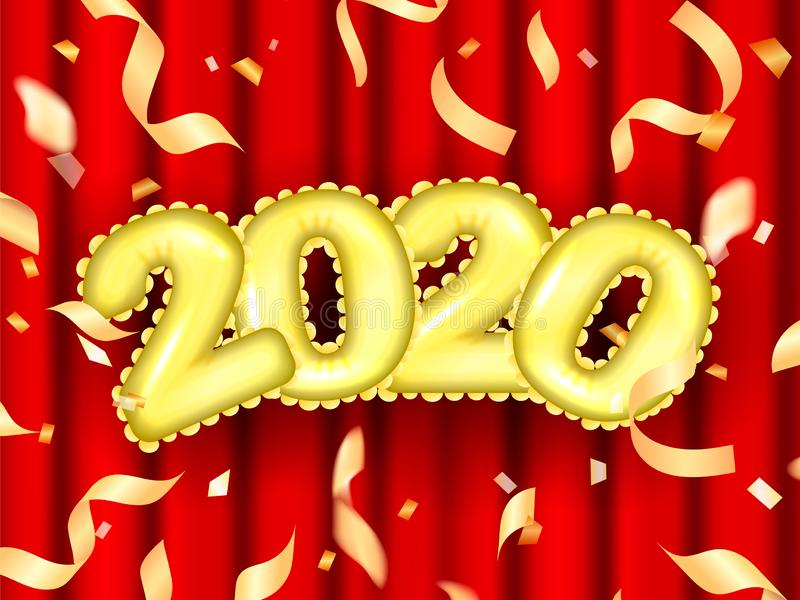 Golden air ballons in a form of 2020 date. Vector illustration. For poster stock illustration