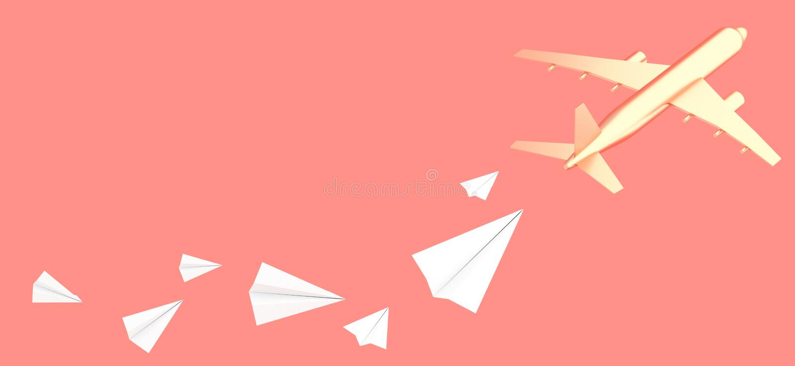 Golden aircraft and group of small white paper planes on coral background 3D illustration royalty free illustration
