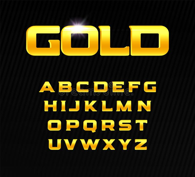 Golden alphabet. Bold headline letters with serif. Modern font for premium product design. Vector gold letters. Golden alphabet. Bold headline letters with royalty free illustration