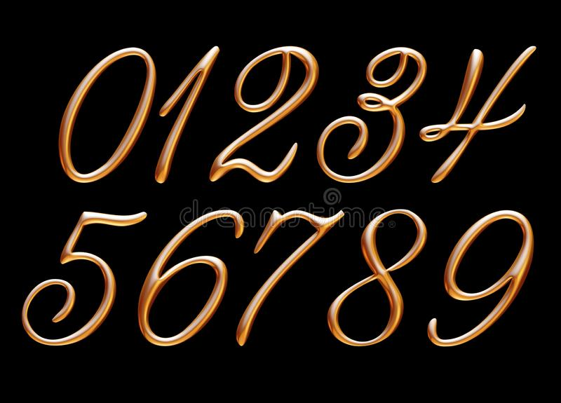 Golden alphabet, numbers 0 1 2 3 4 5 6 7 8 9, metallic embossed letters, 3d illustration vector illustration