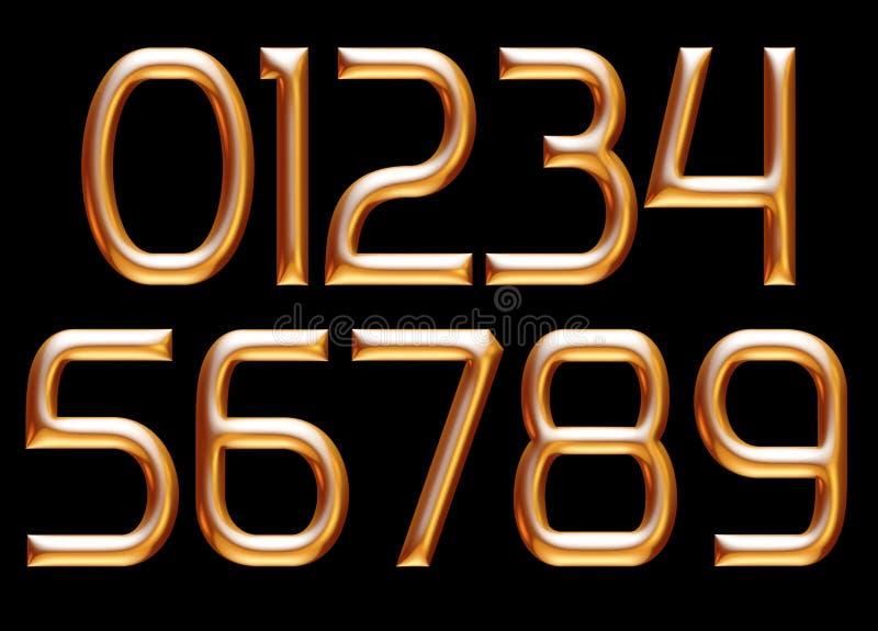 Golden alphabet, numbers 0 1 2 3 4 5 6 7 8 9, metallic embossed letters, 3d illustration royalty free illustration