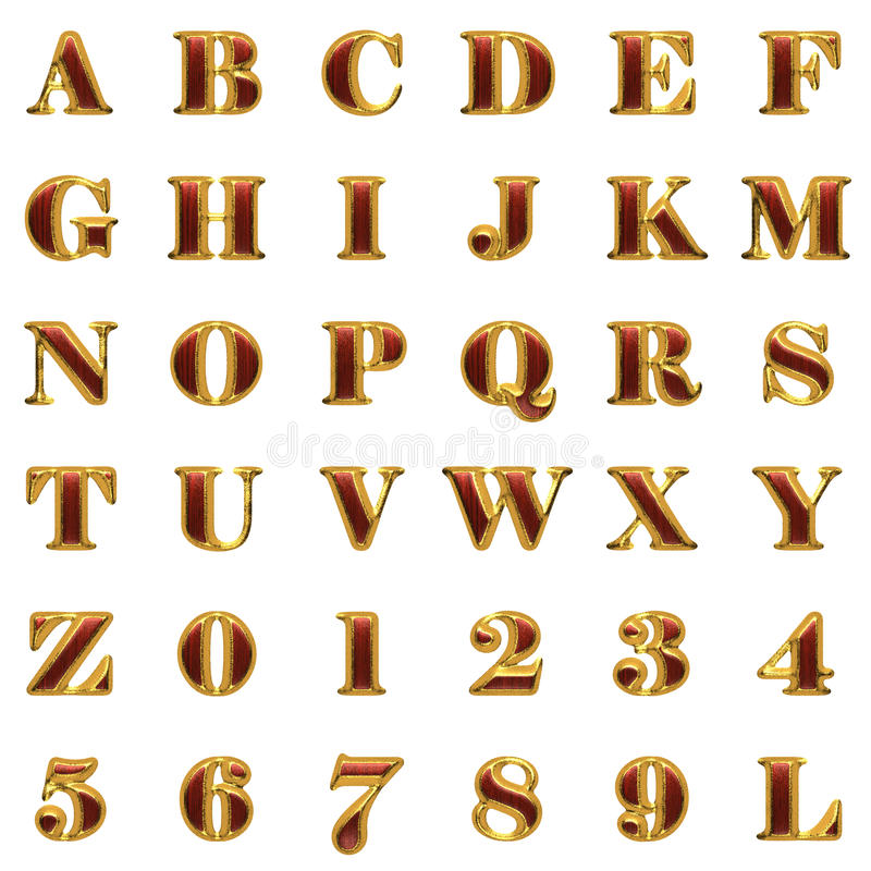 Golden alphabet with red wood stock illustration